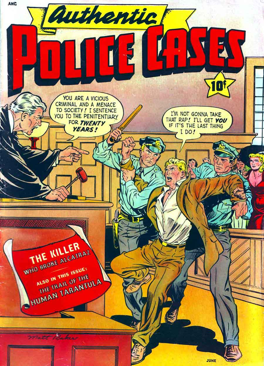 Authentic Police Cases v1 #13 st john crime comic book cover art by Matt Baker
