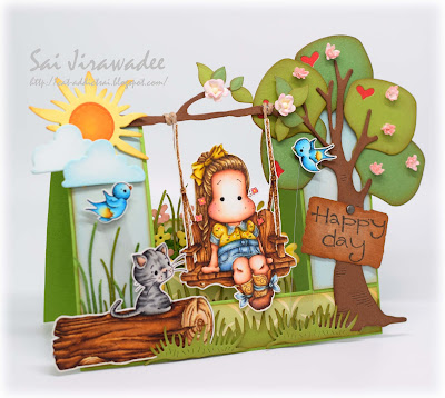 Magnolia Spring Swing Double Side Step Card