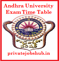 Andhra University Exam Time Table