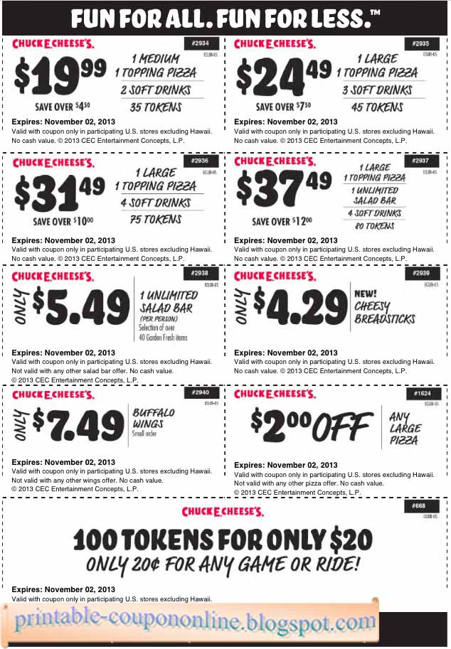 Discount coupons for chuck e cheese