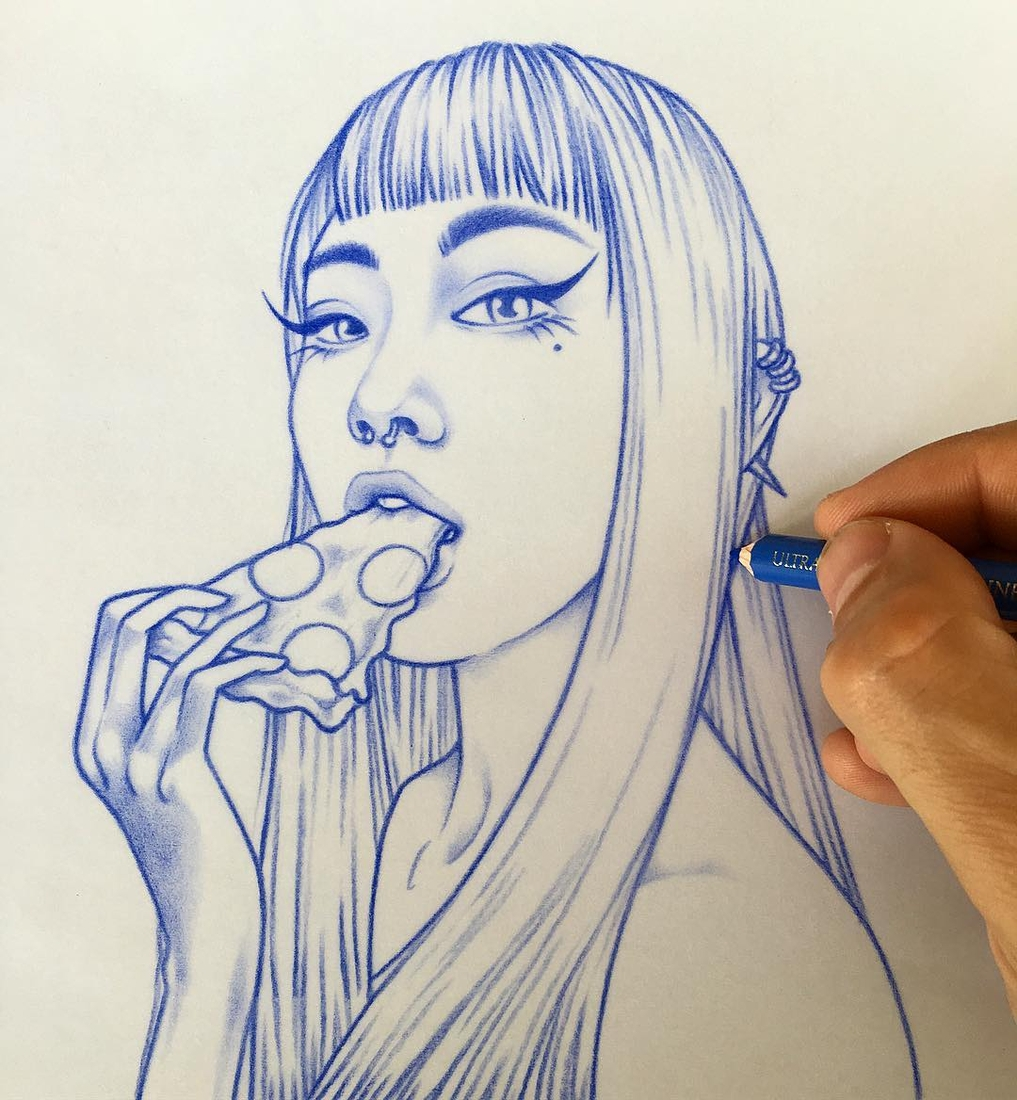 05-Pizza-Time-Rik-Lee-Blue-Red-and-Black-Line-Portrait-Sketches-www-designstack-co