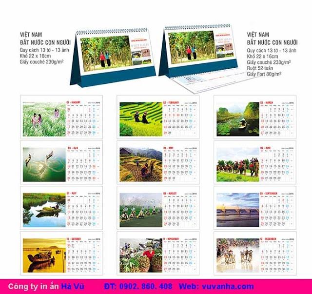 Các mẫu lịch để bàn đẹp - lịch để bàn độc đáo 2017 - làm lịch để bàn
