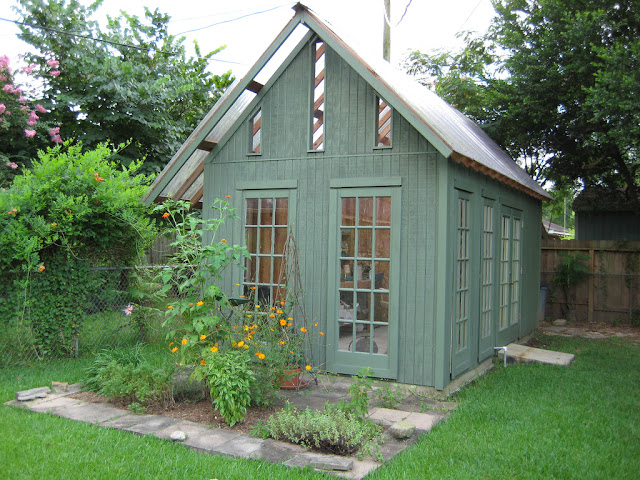 blue green backyard shed