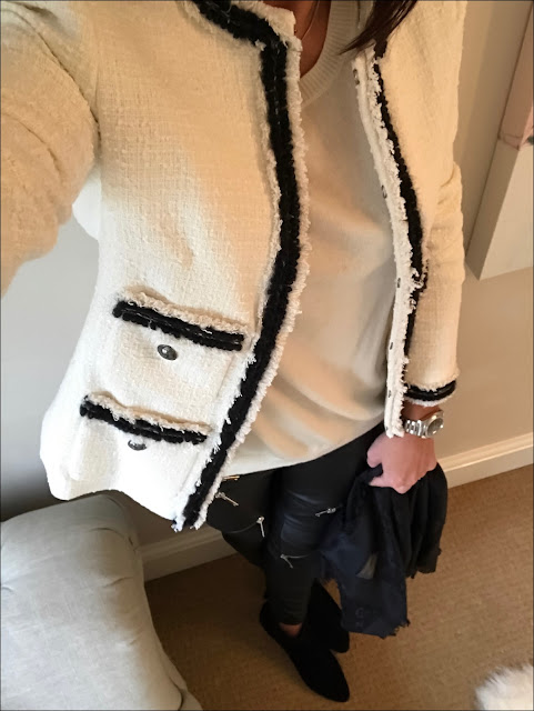 My Midlife Fashion, L K Bennett Charm Cream Tailored Jacket, Hush cashmere boyfriend jumper, Zara faux leather biker trousers, mango block heel ankle boots, louis vuitton monogram shawl