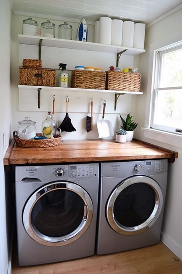 DIY Small Laundry Room Organization Ideas With Top Loading Washer 1