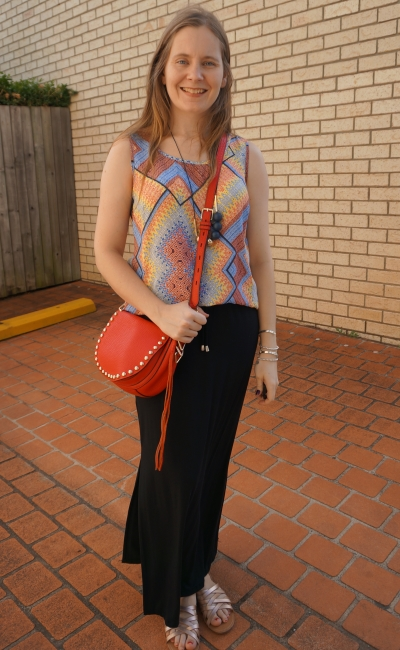 printed rainbow tank with red rebecca minkoff saddle bag maxi skirt gold sandals | awayfromblue