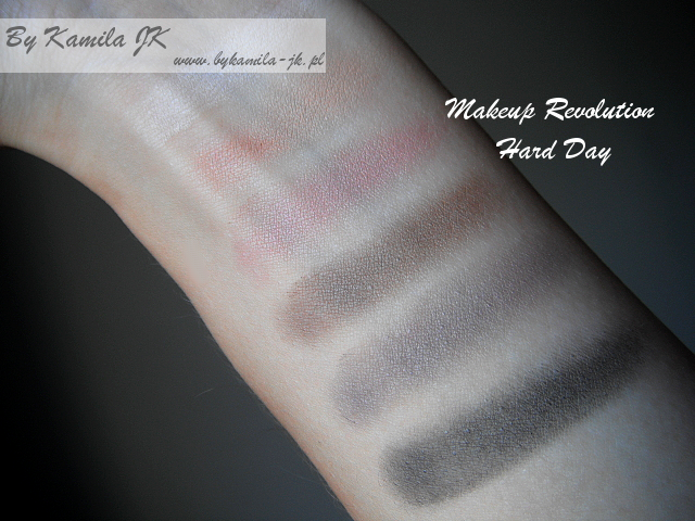 Makeup Revolution paleta cieni Hard Day swatche