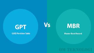 Perbedaan Partisi GPT dengan MBR Beserta Fungsinya