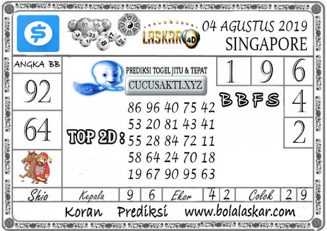 Prediksi Togel SINGAPORE LASKAR4D 04 AGUSTUS 2019