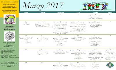 Calendario Institucional Marzo 2017