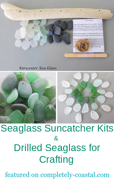 Drilled Seaglass Pieces with Holes for Crafting