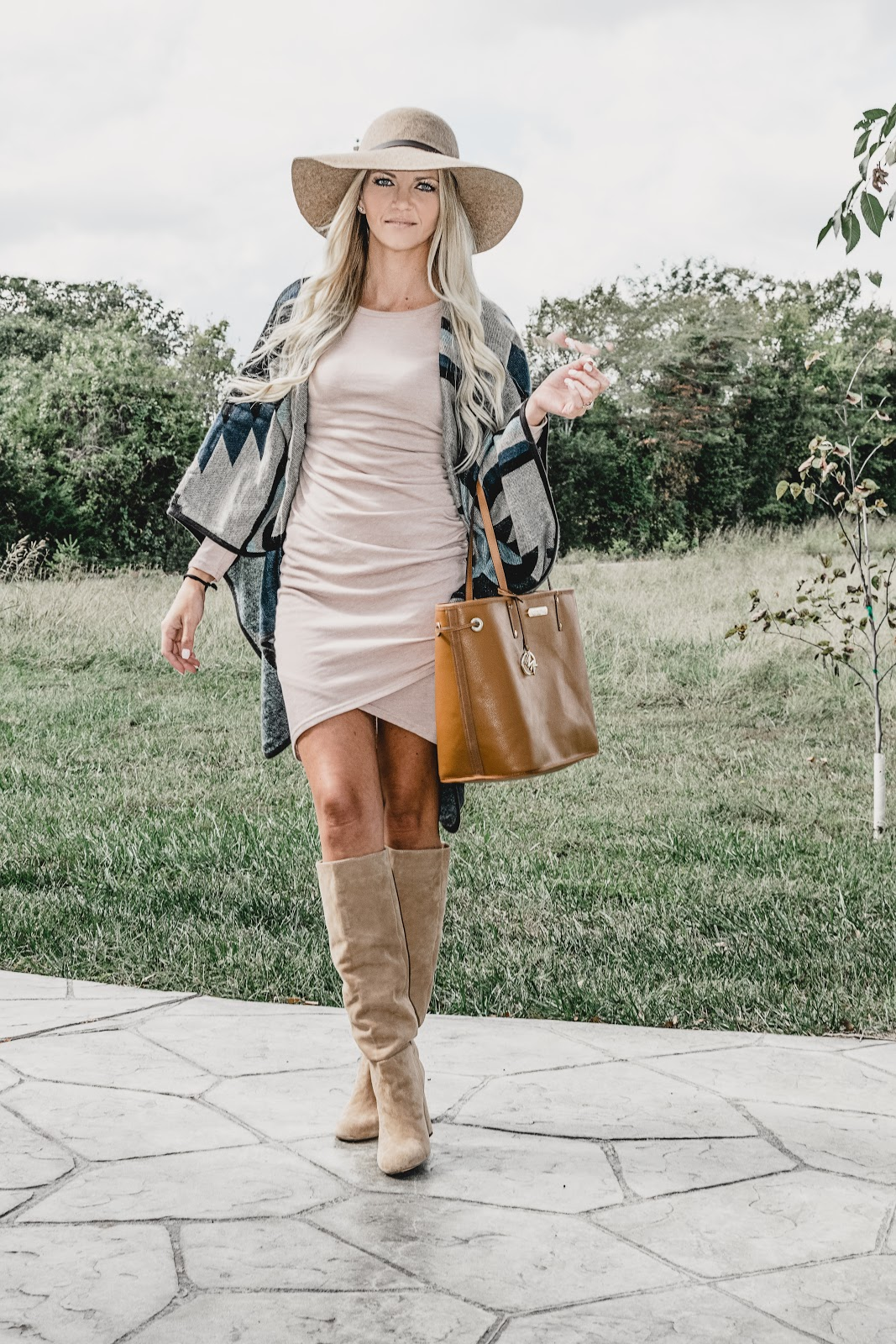fall fashion outfit idea dress pumpkin patch long sleeve hat felt floppy boots blonde mom and me mommy family autumn poncho leith sneakers