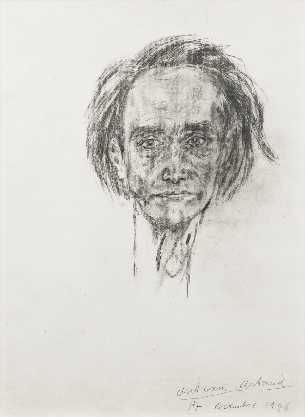 アントナン・アルトーの自画像のデッサン(1946)