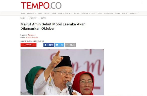 Kubu Prabowo soal Mobil Esemka: Ma'ruf Amin Sebar Hoaks