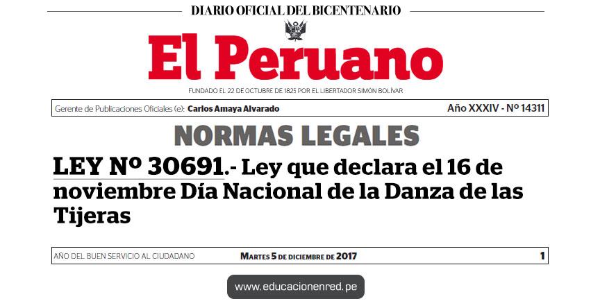 LEY Nº 30691 - Ley que declara el 16 de noviembre Día Nacional de la Danza de las Tijeras - www.congreso.gob.pe
