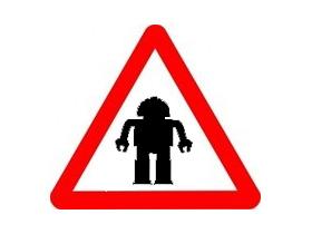 ロボット注意(素材使用)