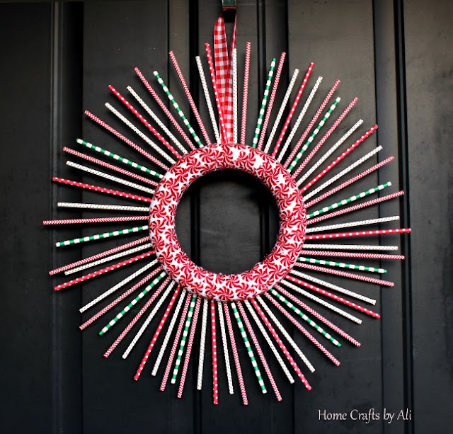 christmas holiday wreath decor DIY straws