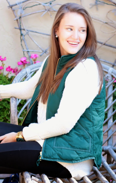 preppy blogger, sweater, vest, sweater vest, j. crew vest, leather look leggings, leggings and sweater