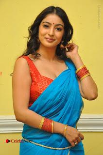 Telugu Actress Vaibhavi Stills in Blue Saree at Www.Meena Bazaar Movie Opening  0005.JPG
