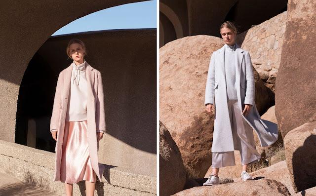 Монохромные образы с пальто пастельных розового и  голубого цветов