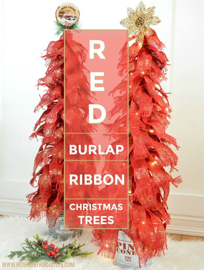 Red Burlap Ribbon Christmas Trees That Sparkle