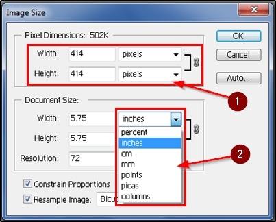 image ki height, width dale