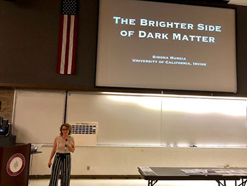 UCI Professor Simona Murgia talks about dark matter at the OCA general meeting (Source: Palmia Observatory)