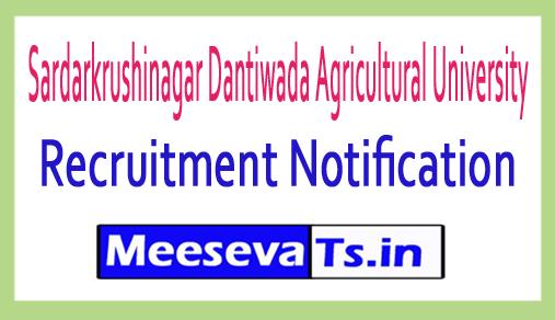 Sardarkrushinagar Dantiwada Agricultural University SDAU Recruitment