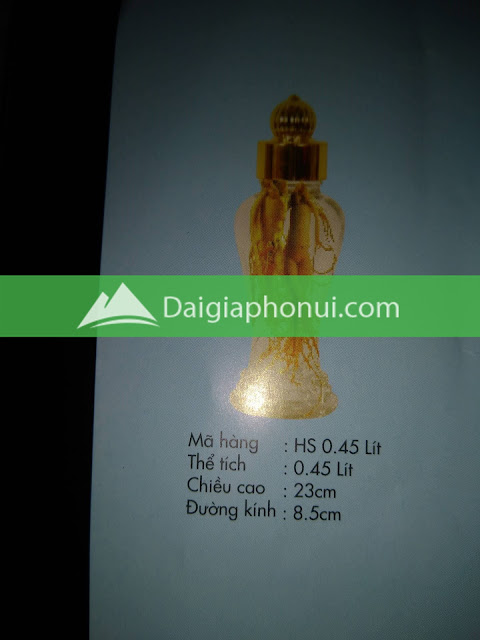 thông số bình ngâm rượu Phú Hoà mã số HS 0.45 LÍT