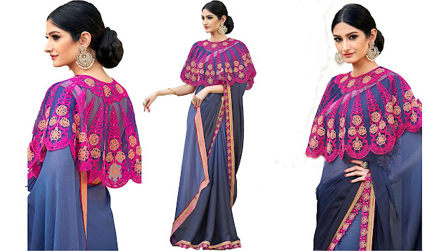 UrbanNari Embroidered Fashion Georgette, Net Saree  (Blue, Grey)