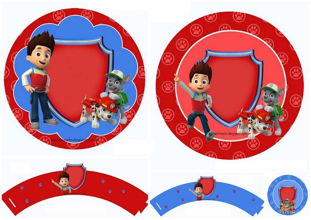 Fiesta de Paw Patrol: Wrappers y Toppers para Cupcakes para Imprimir Gratis.