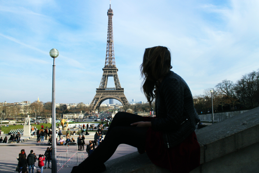 Looking at the Eiffel Tower from Trocadero, Paris, France.