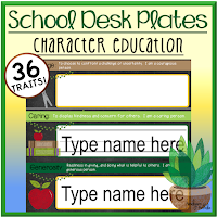 School Character Education Desk Plates
