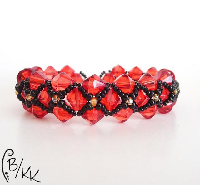 bransoletka right angle weave z kryształkami bicone | right angle weave bicone bracelet