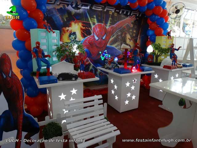 Festa de aniversário Homem Aranha - Decoração de mesa temática provençal