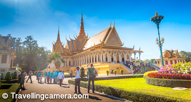 The Royal Palace is perhaps one of the most popular tourist spot in Phnom Penh. Its yellow spires, visible from outside the French-styled boundary walls, invite you to take a closer look, and you willingly pay the $10 ticket price (twice in my case) and enter. The building in the photograph above is the Royal Court, which is still used by the Royal family for coronations and other events. Tourists are not allowed inside the Royal Court, and no photography of the interiors of the court is allowed even from the windows and the doors.