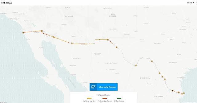 Map of US & Mexico Border Wall Gaps