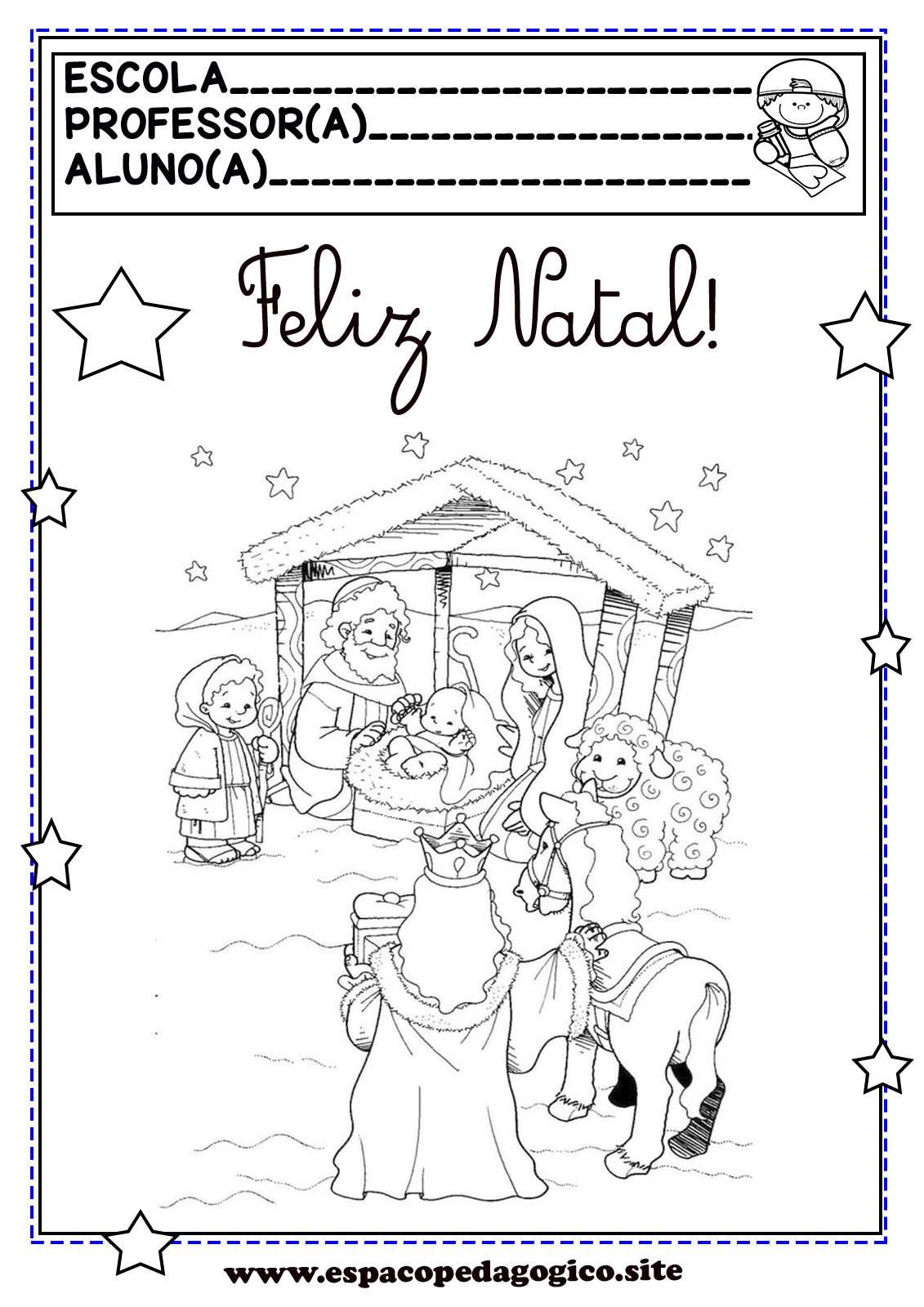 Desenhos De Natal Para Colorir Pintar Ou Capas De Prova De Natal