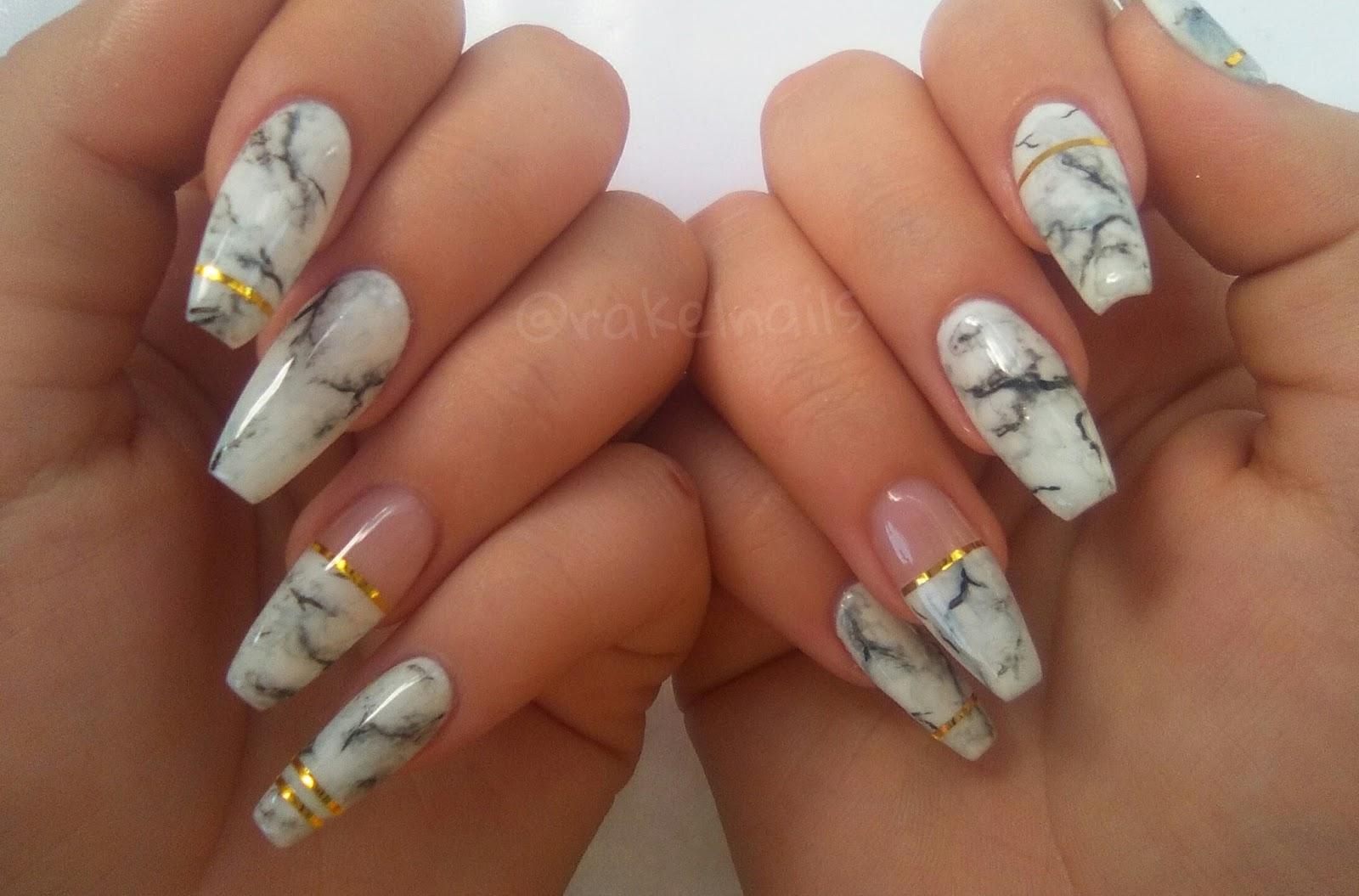Rakel nails ❁: Uñas de gel coffin + nail art efecto mármol ...
