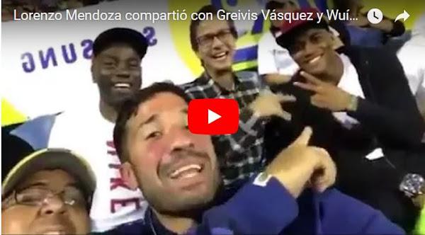 Lorenzo Mendoza con Greivis Vásquez y Wuílker Faríñez en el estadio