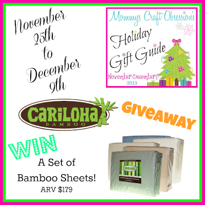 Enter the Cariloha Bamboo Sheet Giveaway. Ends 12/9.
