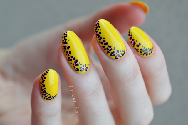 bright yellow leopard print half moon nail art