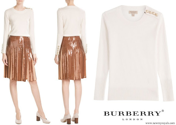 Princess Marie wore Burberry Cashmere Button Shoulder Sweater