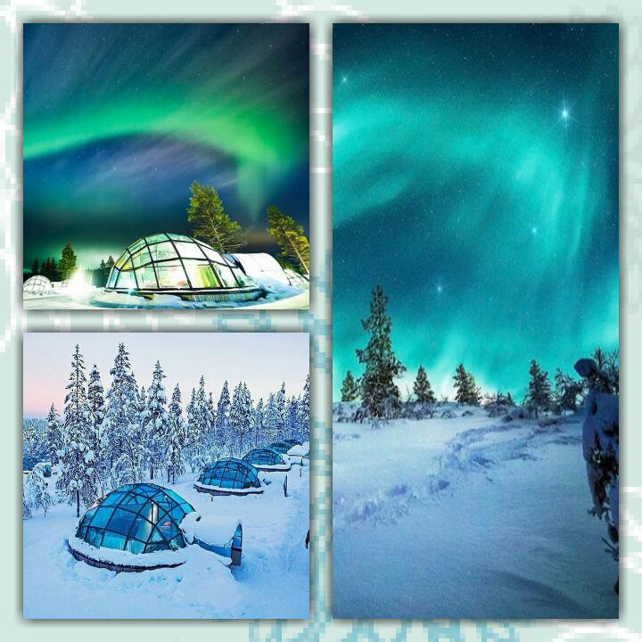 Finlandiya'nın kuzeyinde yer alan İgloköyü ve kuzey ışıkları