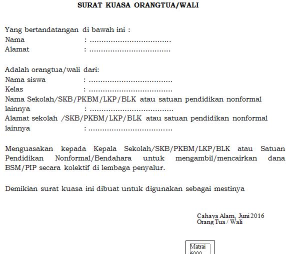 gambar contoh format surat kuasa orang/tua
