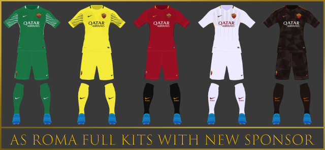PES 2017 AS Roma Kits With New Sponsor 2018 By Mohamed Essam