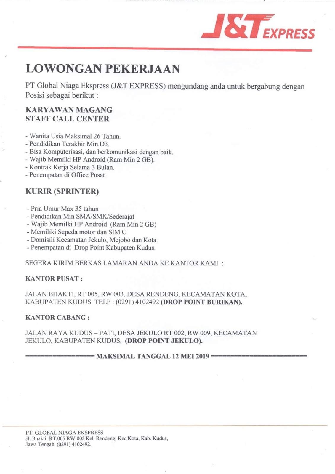 Informasi Lowongan Kerja Sebagai Karyawan Magang Staff Call Center, Kurir di J&T Express Kudus