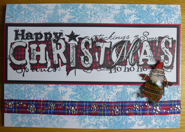 Happy Christmas Card using Woodware Stamps