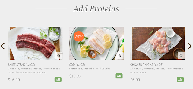 Protein add-ons available to fill a Terra's Kitchen box.