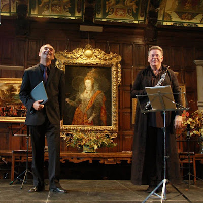 Hatfield House Chamber Music Festival: James Gilchrist, Nicholas Daniel in the Marble Hall (Photo Rose Cecil)